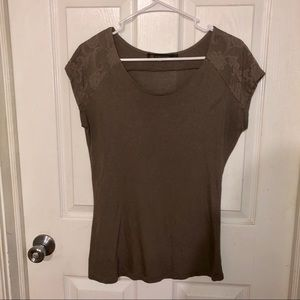 Women's Brown short sleeve shirt with lace